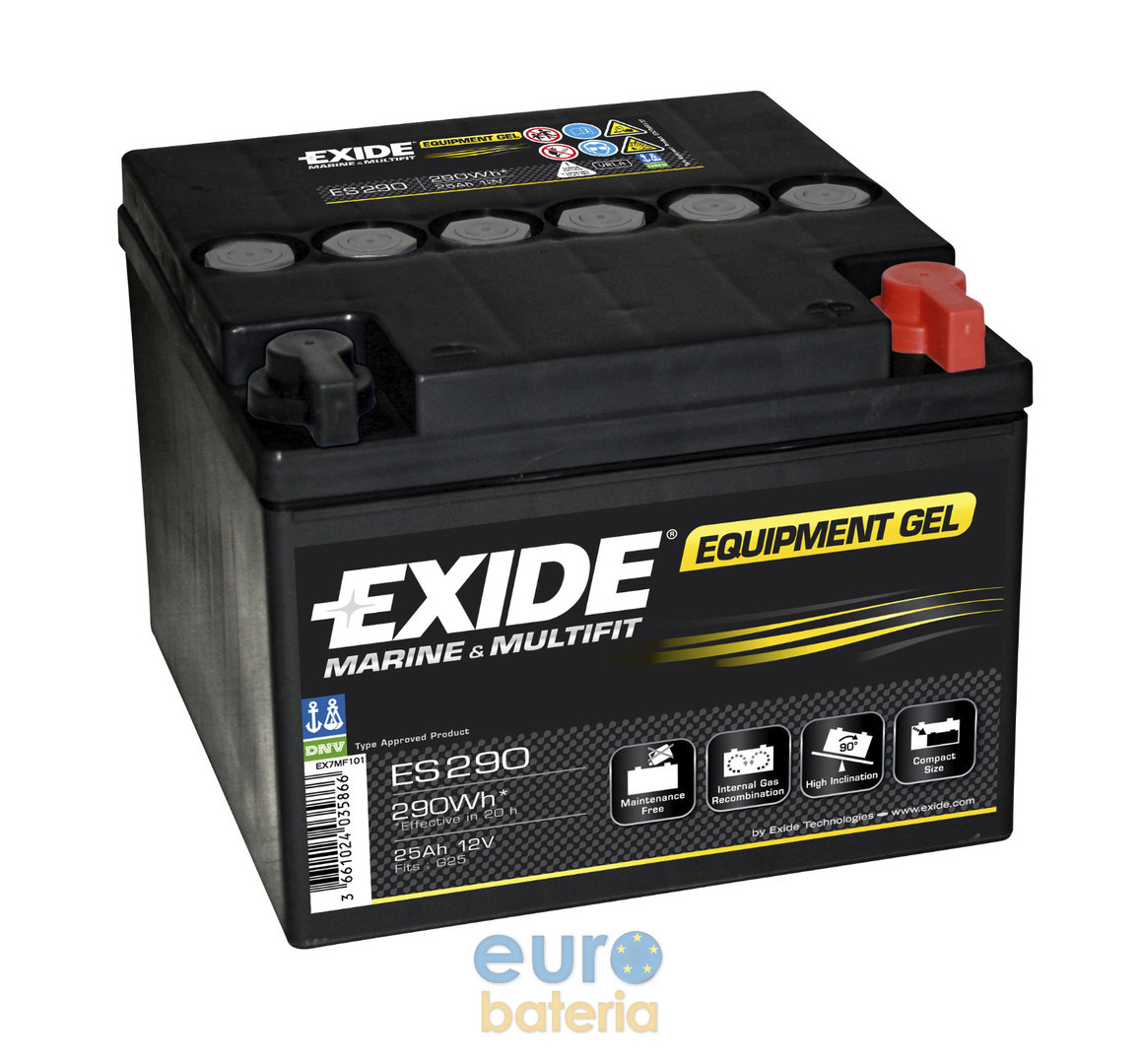 battery 12v 25ah exide gel es290 for golf cars. Black Bedroom Furniture Sets. Home Design Ideas