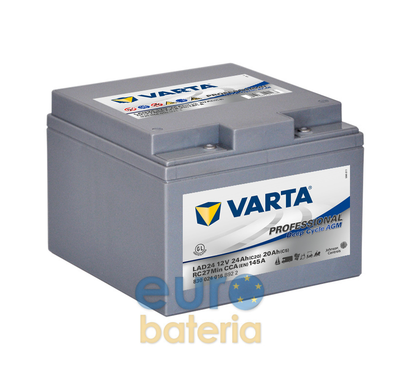 batterie 12v 24ah varta professional agm deep cycle lad24. Black Bedroom Furniture Sets. Home Design Ideas
