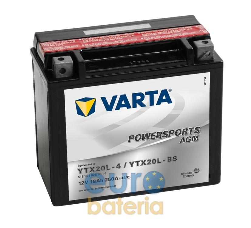 12v 18ah Battery >> Varta Powersport Agm 12v 18ah 51801 Ytx20l 4 Ytx20l Bs