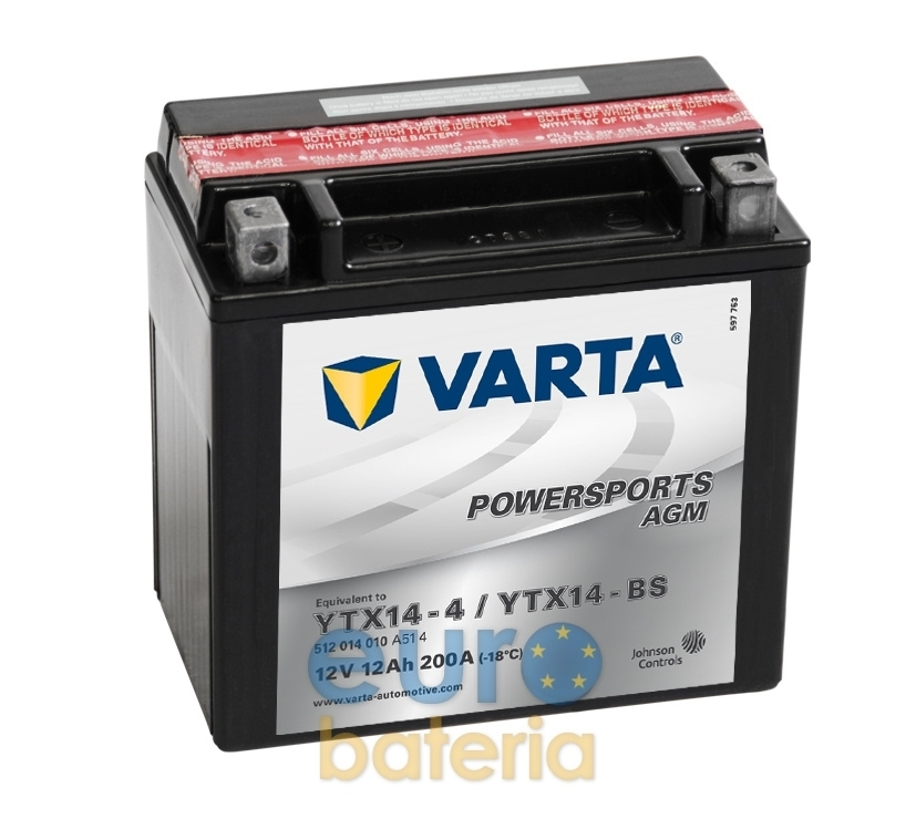 0fd91384 MOTORCYCLE BATTERY 12V 12AH YTX14-4 / YTX14-BS VARTA AGM 51214