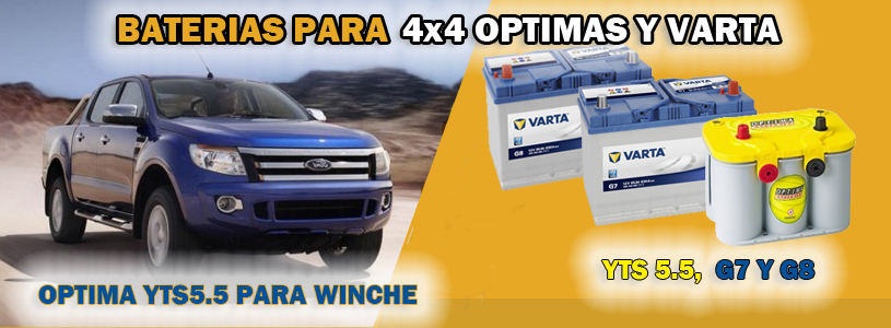 Baterias para 4x4 todoterreno, varta, optima batteries